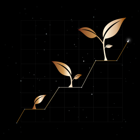 Growth of business or economy as elegant black  gold background.