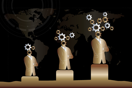 Business and technology progress / growth. Black and gold elegant background. Including businessman and gears symbol.
