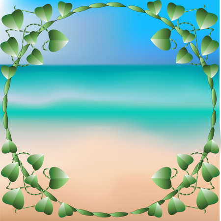 frame from the stems and leaves of the Lian, background consists of the ocean , the blue water , sand yellow