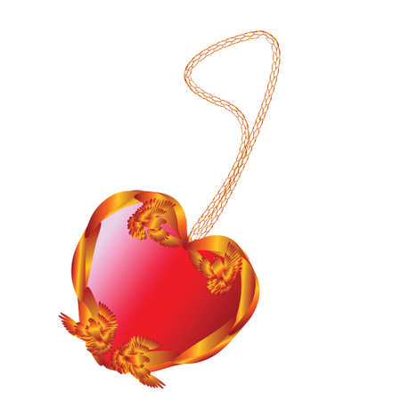 Golden pendant in the form of hearts , decorated with Golden doves, with a red stone Vector