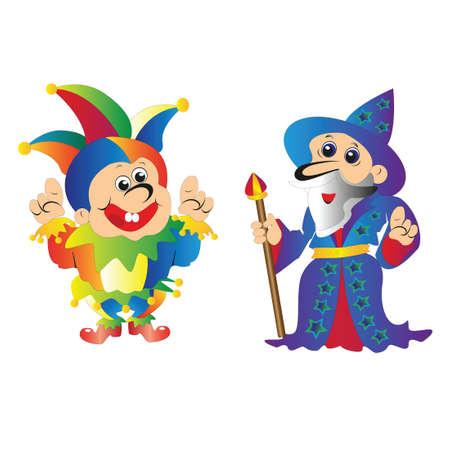 mago merlin: El viejo mago Merlín con su personal y el payaso en ropa brillante con campanas señala las manos Vectores