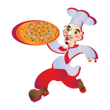 carries: Chef runs pizzey carries a delicious pizza on white background
