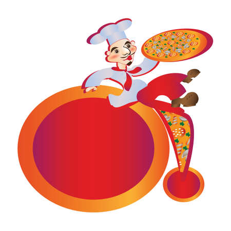 sits: Cook male pizzey sits advertises pizza trademark white background