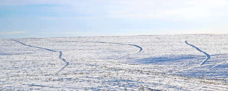 Incredible landscape of a snowy field rugged by traces of wheels.