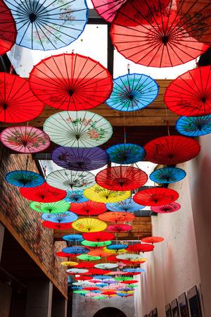 umbrella on ancient ceiling 版權商用圖片