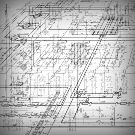electrical circuit: Frammento di un circuito elettrico su uno sfondo chiaro.