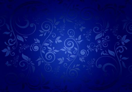 青色の背景にヴィンテージの花柄。