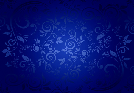 Vintage floral pattern on a blue background.