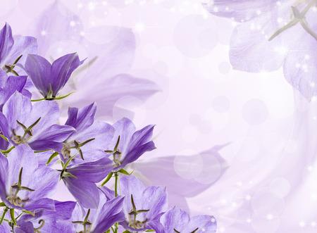 borde de flores: campanas de la lila en un fondo festivo con las estrellas. Foto de archivo