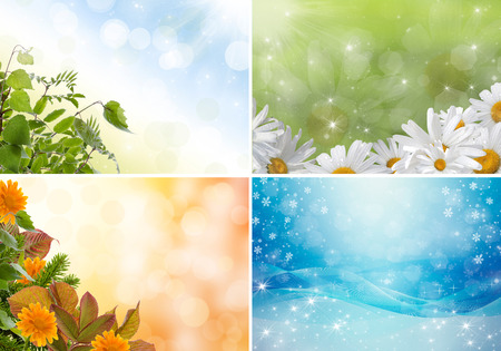 Four bright seasons - spring, summer, autumn, winter. Banque d'images