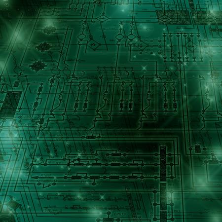 circuito electrico: Fragmento de un circuito el�ctrico sobre un fondo verde.