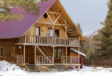 urals: Wooden tourist lodge in the mountains of the Southern Urals.