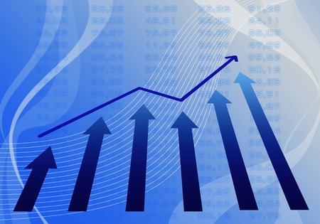 Diagram of profit in the business on a blue background.