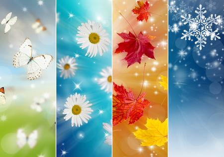 Four bright seasons - spring, summer, autumn, winter. Stock Photo