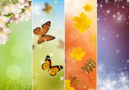 four: Four bright seasons - spring, summer, autumn, winter. Stock Photo