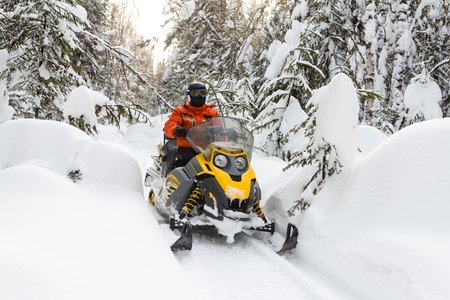 Athlete on a snowmobile moving in the winter forest
