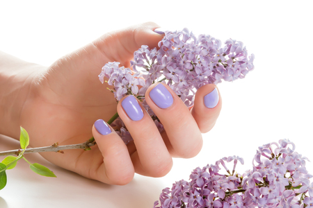 arm bouquet: Hand with manicure holding a bouquet of blue flowers on a white background.
