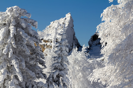 urals: Snow-covered mountains in the winter in the southern Urals.