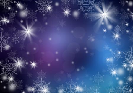 Flocons blancs sur un fond de Noël bleu. Espace pour le texte.