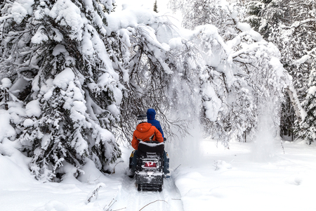 Athletes on a snowmobile moving in the winter forest in the mountains of the Southern Urals.thletes on a snowmobile moving in the winter forest in the mountains of the Southern Urals.