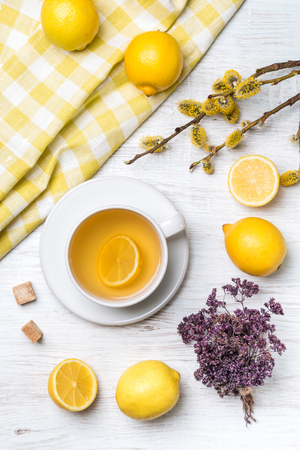 A cup of green tea with lemon and herbs. Stock Photo