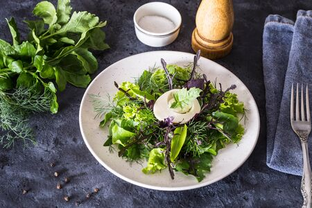 Fresh green salad with egg on a dark background.