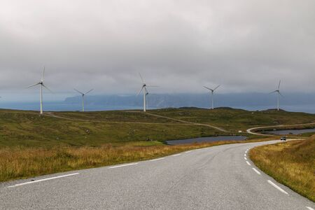 Scenic view of the fjord and wind generators in Norway. Stockfoto