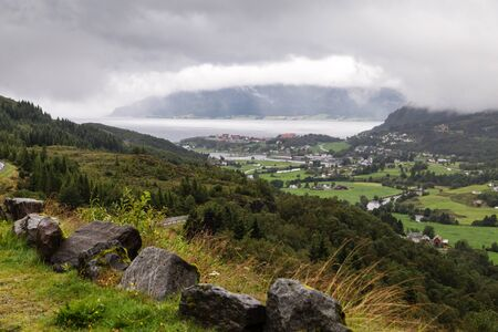 Scenic view of the fjord and the village of Norway.