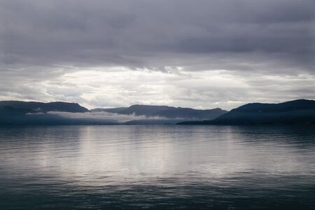 Scenic view of the fjord of Norway. Morning.