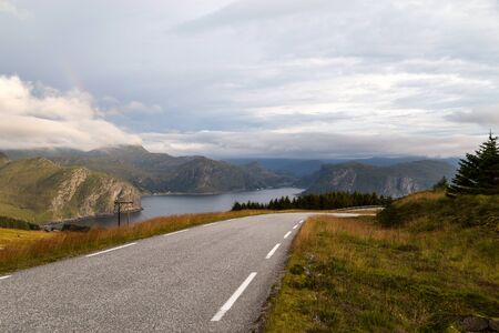 Scenic view from the road to the fjord in Norway.