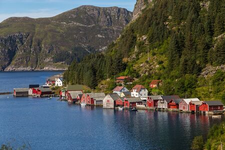 Scenic view of a fishing village in Norway.