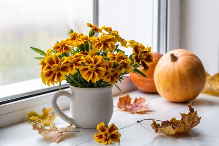 Beautiful autumn still life with pumpkins, autumn leaves and a bouquet of marigolds on a window background.