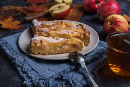 Apple pie. Autumn baking with fruits.