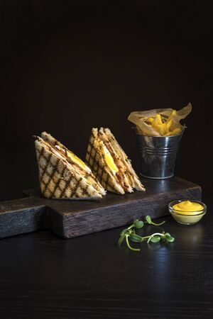 Sandwich with chicken on a dark background and french fries.