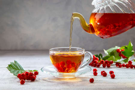 Hot hawthorn tea is poured from a transparent teapot into a glass. Stock Photo