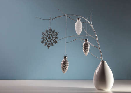 Winter still life with Christmas decorations.