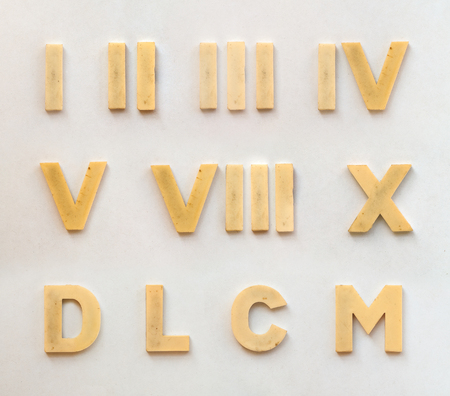 bright plastic roman numbers with magnet on white paper