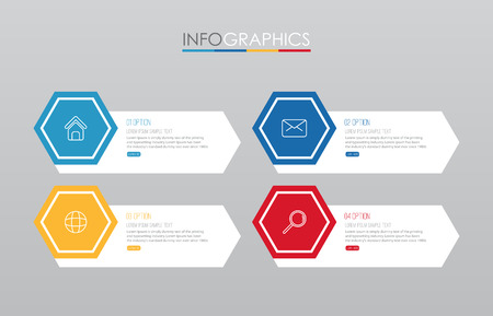Modern Info-graphic Template for Business with 4 steps multi-Color design, labels design, Vector info-graphic element, Flat style vector illustration. Illustration