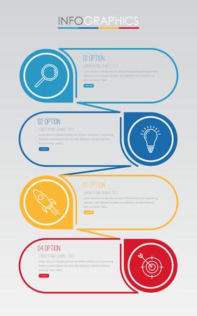 Business Info-graphic Template diagram with 4 steps multi-Color design, labels design, Vector info-graphic element, Flat style vector illustration Reklamní fotografie - 81552021