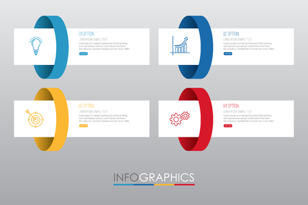 Info-graphic Template diagram with 4 steps multi-Color design, Business layout template, labels design, Vector info-graphic element, Flat style vector illustration EPS 10. 일러스트