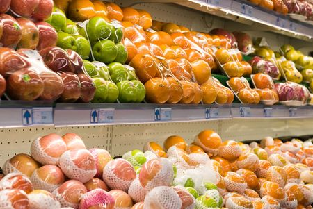 Fresh fruits in a hypermarket Stock Photo