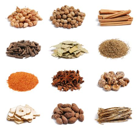 Spices on the white background