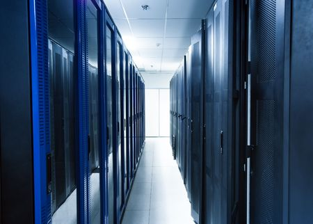 lan connection: A server room with black servers Stock Photo