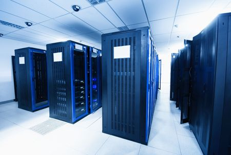 A server room with black servers Stock Photo