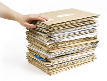 File Stack and hand close up shot on white background Stock Photo - 6822585