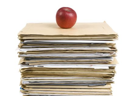 File Stack and red apple close up shot on white background Stock Photo - 6822609