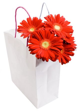 Shopping bag with a bouquet daisy flowers photo