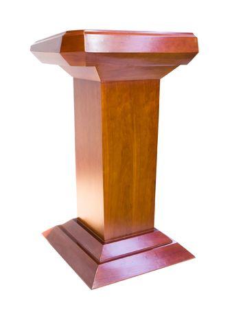 Oak podium isolated on white background photo