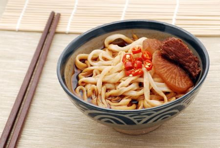 Noodle soup asian with beef Stock Photo