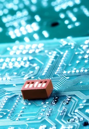 Macro of computer board, technology background Stock Photo - 6904237